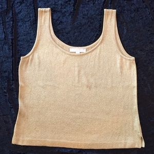 ST. JOHN Basics Shimmer Tank Gold Knit Shell Top